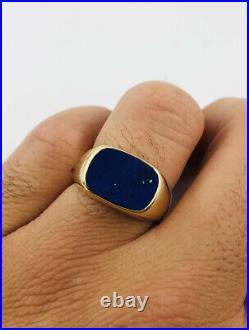 Vintage Estate 14k Yellow Gold Natural Blue Lapis Lazuli Men's Ring