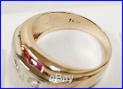 Vintage Estate 14k Yellow Gold Ruby 0.60 ctw & Diamond 0.30 ctw Men's Band Ring