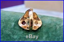 Vintage Estate 14k euro diamond Ruby aquamarine emerald Huge Mens ring sz 10