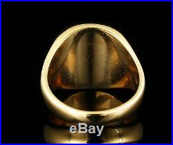 Vintage Estate Fine Natural Carnelian Solid 14k Yellow Gold Mens Signet Ring