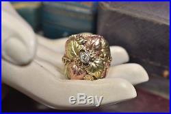 Vintage Estate Huge 10K Black Hills Gold Mens. 27 ct Diamond Ring size 10 1/2