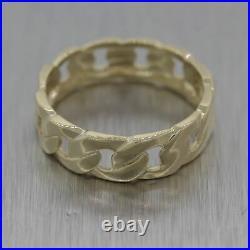 Vintage Estate Men's 14k Yellow Gold Cuban Wedding Band Ring