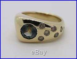 Vintage Estate Solid 14k Gold Mens / Unisex Ring Canary Diamond & Mystic Topaz