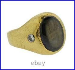 Vintage Genuine Black Star Sapphire Diamond Mens Ring 14k Gold Bezel Set
