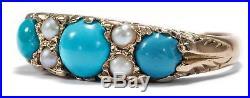 Vintage Gold RING in viktorianischen Formen mit Türkis & Perlen, Turquoise Pearl