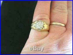 Vintage Heavy Mans / Ladies 0.25ct Diamond Gold Signet Ring Size O 4.8 Grams