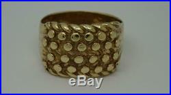 Vintage Heavy Mens Solid 9ct Yellow Gold 4 Row Keeper Ring 10g Size X