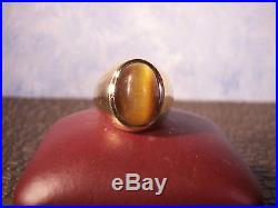 Vintage Heavy Solid 10K Yellow Gold Mens Tiger's Eye Ring Size 10
