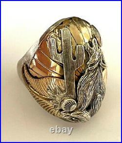 Vintage Huge Native American Wolf Moon Cactus Mens Ring Sterling 33.6gr Sz 10.75