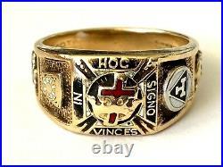 Vintage Knights Templar In Hoc Signo Vinces 10K Gold Masonic Men's Ring Size 9.5
