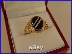 Vintage Ladies Mens 9ct Gold BANDED ONYX SIGNET RING Sz S Hm 780n