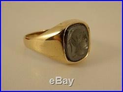 Vintage Ladies Mens 9ct Gold CENTURIAN SIGNET RING Sz R-R 1/2 Hm 13X11mm 1114n