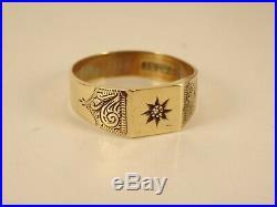 Vintage Ladies Mens Boys 9ct Gold DIAMOND SIGNET RING Hm 1958 4gr Sz W 15e