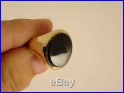 Vintage Large Ladies Mens 9ct Gold ONYX SIGNET RING Sz R Hm 16x11mm 1116n