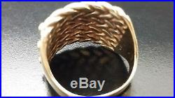 Vintage Large Mens 9ct Solid Gold 4 Row Keeper Gents Ring Size W