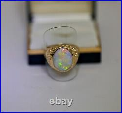 Vintage Large Opal Men's Ring 14K Rose Gold Sz11