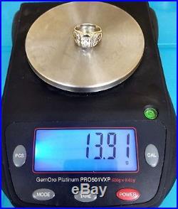 Vintage MASONIC/SHRINERS Mens Ring 14K White Gold. 40ct Diamond Size 12.5