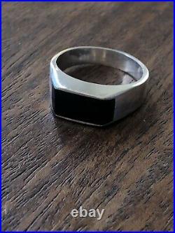 Vintage MID Century Modern Sterling Silver Onyx Mens Minimalist Ring Sz 11.5