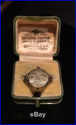Vintage Man in the Moon Ring, Moonstone Man in the Moon Gold Ring, 10 Ct, divine