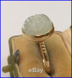 Vintage Man in the Moon Ring, Moonstone vintage Gold ring, gold Ring, 15 Carat