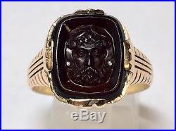 Vintage Mans 10k Yellow Gold Hand Carved Zeus Cameo Ring Greek God Sz 9 War