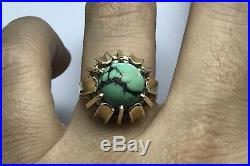 Vintage Mans 14k Yellow Gold Round Turquoise Ring Mens Unisex Unique Sz 8.75