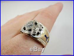 Vintage Masonic 10k Gold Men's Ring, Blue Lodge 3rd Degree Mason, Size 12 #J44