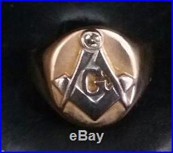 Vintage Masonic Men's 14k 2-tone Solid Gold Diamond Ring Sz. 9.25 w 8.4 Grams