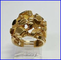Vintage Massive Freeform Mens Ring 18k Yellow Gold Size 5 13.7g