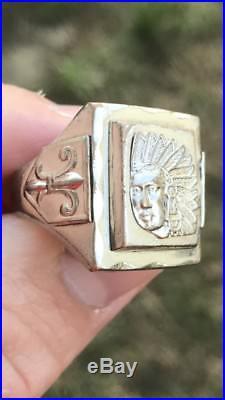 Vintage Men Mexican Biker Antique Chief Crest Ring