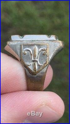 Vintage Men Mexican Biker Antique Signet Crest Ring