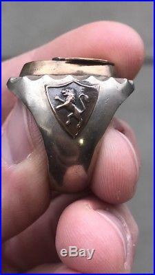 Vintage Men Mexican Biker Crest Antique Signet Ring
