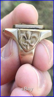 Vintage Men Mexican Biker Eagle Crest Antique Ring