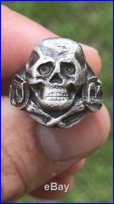 Vintage Men Pharmacists/Doctors Antique Sterling Skull Signet Ring