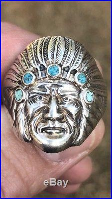 Vintage Men Sterling Silver Turquoise Indian Chief Antique Biker Ring