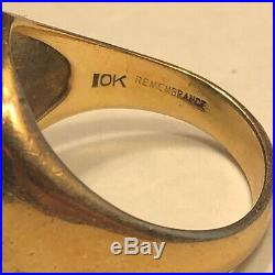 Vintage Men's 10KT Yellow Gold Masonic Ring Size 10