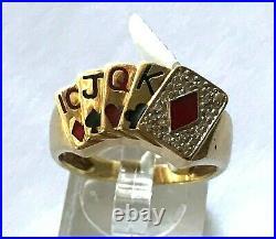 Vintage Men's 10KY Gold Diamond & Enamel 5 Poker Cards Ring SZ 10.75