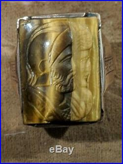 Vintage Men's 10K Gold Double Soldier Roman Cameo Ring Size 10 1/2 Must See