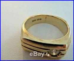 Vintage Men's 10K Yellow Gold Diamond Pinky Ring 6.1 Grams Size 5.75 IBG