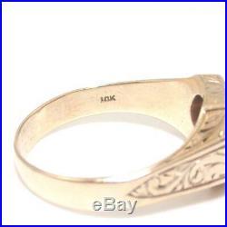 Vintage Men's 10K Yellow Gold Ring Pink Ruby Locking Rings Symbol Size 11 1/4