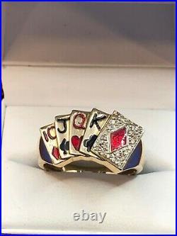 Vintage Men's 10k Yellow Gold Diamond & Enamel Poker Cards Ring