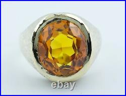 Vintage Men's 10k Yellow Gold Oval Orange Citrine Solitaire Heavy Ring Size 13