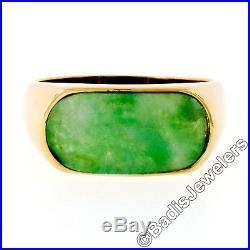 Vintage Men's 14K Yellow Gold Curved Custom Oval Cut Bezel Set Jade Band Ring