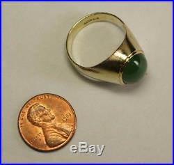 Vintage Men's 14K Yellow Gold Oval Dark Green Jade Jadeite Ring Estate Sz 9.25