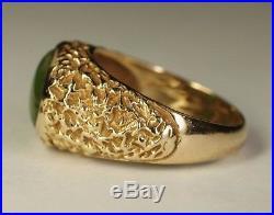 Vintage Men's 14K Yellow Gold Oval Green Jade Jadeite Ring Estate Nugget Sz 9.75