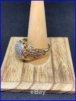 Vintage Men's 14k 1ctw Diamond Kentucky Cluster Flower Side Ring Wear Not Scrap