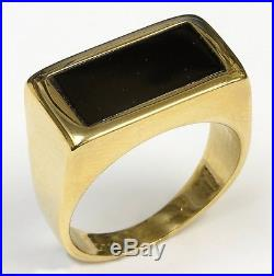 Vintage Men's 14k Black Jade Ring Fingersize 10