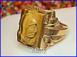 Vintage Men's 14k Gold Tiger's Eye Intaglio Ring Carving Roman Soldiers Art Deco