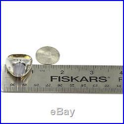 Vintage Men's 14k Solid White Gold 5.00ct Gray Star Sapphire & Diamond Ring Size