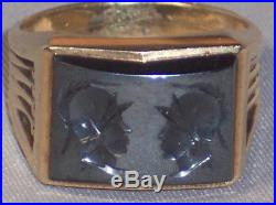 Vintage Men's 14k Yellow Gold Intaglio Ring With Twin 2 Gladiator Heads Size 10